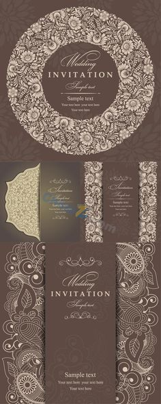 Elegant patterned invitation cards vector templates