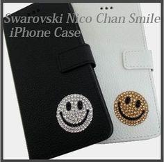 dc985990f4 スマホケース・テックアクセサリー スワロフスキー ニコちゃん 手帳型 ハンドメイド iPhoneケース