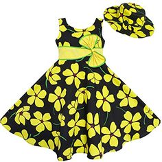 Sunny Fashion Big Girls 2 Pecs Dress Sun Hat Bow Tie Summer Beach Yellow 78 *** You can find more details by visiting the image link.