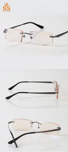 7ed52585d9b7 Aliexpress.com : Buy High Quality Brand Men's Diamond Cutting Against Blue  Ray Reading Glasses Slim Rimless Anti radiation Presbyopic Eyeglasses G524  from ...