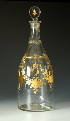 Tapered Magnum Decanter with Gilded Decoration c 1790