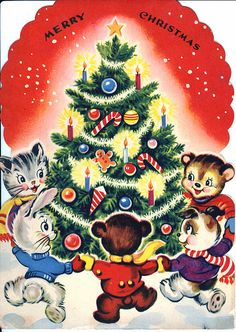 Merry Christmas winter snow trees cats rabbits hares bears dogs baubles ornaments stars candles candy canes gingerbread man dancing streamers vintage retro kitsch animals by raveneve Vintage Christmas Images, Retro Christmas, Vintage Holiday, Christmas Pictures, Vintage Greeting Cards, Christmas Greeting Cards, Christmas Greetings, Vintage Postcards, Old Time Christmas