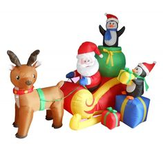 6 Foot Long Christmas Inflatable Santa on Sleigh with Reindeer and Penguins Yard Decoration -: Christmas Gifts