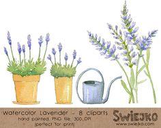 Watercolor Flowers Digital Clip Art Hand by SwiejkoForPrint