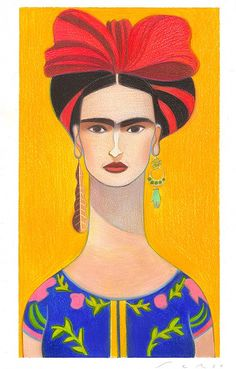 andrea serio - Frida - original illustration, pastel on paper - A4 size - signed by the artist - 250 EUR