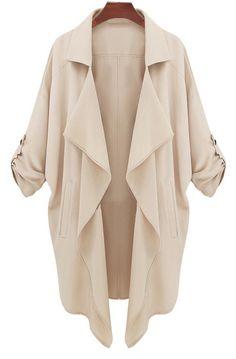 Beige Long Sleeve Casual Loose Pockets Coat  by SheInside