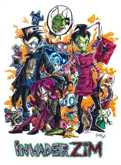 Invader ZiM by sanitrance on DeviantArt Invader Zim Characters, Stupid Human, Marker Pen, Cartoon Movies, Geek Out, Ship Art, Homestuck, Looks Cool, Gel Pens