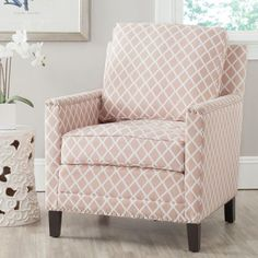 House of Hampton Coppola Armchair Upholstery: Peach Pink/White Living Room Chairs, Living Room Furniture, Living Rooms, Kid Rooms, Furniture Chairs, Arm Chairs, Furniture Styles, Office Chairs, Office Decor