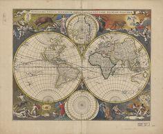 "Novissima Totius Terrarum Orbis Tabula (A rough translation is ""Latest map of the world) by Nicholas Visscher, 1690."