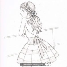 Helen Huang sketch - girl looking into distance Easy Pencil Drawings, Pencil Sketches Of Girls, Beautiful Pencil Sketches, Pencil Drawing Inspiration, Disney Drawings Sketches, Pencil Sketch Drawing, Girl Drawing Sketches, Art Drawings Beautiful, Dark Art Drawings