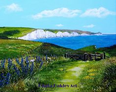 """Sea breeze over Seven Sisters"" Acrylic painting .ORIGINAL ART by Paula Oakley"