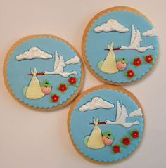 Baby Stork Cookies by RuthiesCookies on Etsy