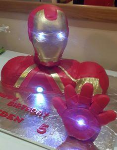 Iron man cake with LED lights - Visit to grab an amazing super hero shirt now on sale! Sweets Cake, Cupcake Cakes, Cupcakes, Iron Man Party, Ironman Cake, Iron Man Birthday, Fondant Cake Designs, Movie Cakes, Bithday Cake