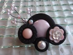 Light Pink Black Rhinestone Pearl Vintage Button Pin by mscenna, $10.00