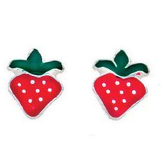 Sterling Silver Enamel Strawberry Kids Earrings