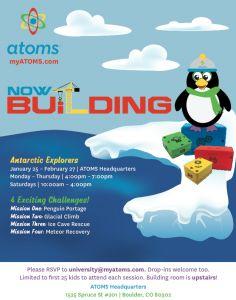 Workshop open to kids 6 and up in the Boulder area. Click for details. #myatoms #LEGOS #Boulder #toys