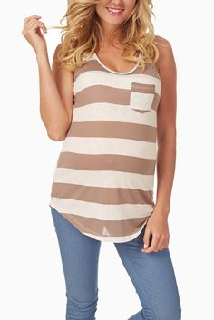 Mocha-White-Striped-Maternity-Racerback-Tank #mochastripetank #racerbacktank #cutematernityclothes