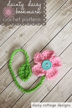 Free Crochet Pattern {Dainty Daisy Bookmark Crochet this cute flower bookmark in our Bonbons yarn for a nice array of color and variety. Pattern and tutorial from Daisy Cottage Designs. Crochet Books, Love Crochet, Crochet Gifts, Knit Crochet, Crochet Design, Crochet Daisy, Crochet Flower Patterns, Crochet Flowers, Crochet Bookmark Patterns Free
