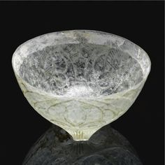 Rare Cut Glass Footed Bowl, Persia, 9th-10th century.