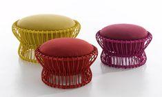 Moroccan Poufs — Style Estate Interior Desing, Rattan Outdoor Furniture, Bamboo Furniture, Furniture Design, Corner Furniture, Rattan Chairs, Funky Furniture, Lounge Chairs, Designer