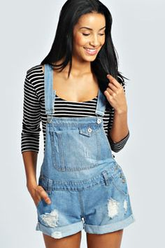 Connie Pocket Front Ripped Denim Dungaree Shorts at boohoo.com