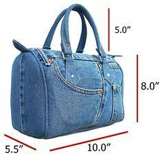 Buy Classic Blue Denim Jean Doctor Style Women Handbag (LL and More Discount Women Top Handle Bags Sale up to off. Mochila Jeans, Fabric Bags, Blue Denim Jeans, Denim Bags From Jeans, Handmade Bags, Purses And Handbags, Luxury Handbags, Guess Handbags, Cheap Handbags