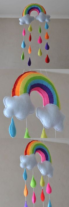 Somewhere over the rainbow mobile [Rainbow with raindrops - Baby mobile] by Razz. - kece Somewhere over the rainbow mobile [Rainbow with raindrops – Baby mobile] by on Etsy: - Baby Crafts, Felt Crafts, Diy And Crafts, Crafts For Kids, Craft Projects, Sewing Projects, Diy Y Manualidades, Felt Mobile, Rainbow Baby