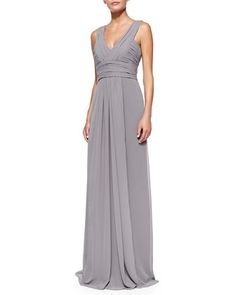 Sleeveless Deep V-Neck Gown, Slate by Monique Lhuillier Bridesmaids at Neiman Marcus.
