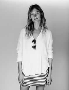 madewell oceanside pullover worn with the eventide zip skirt + indio sunglasses.