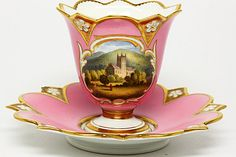 Royal Worcester Barr Flight & Barr Topographical Cup & Saucer - Great Malvern Priory