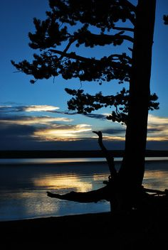 Right after sunset in Lewis Lake, Yellowstone National Park