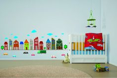 Town Buildings Decal - City Street Decal - City Wall Sticker - City Wall Decal - City Streets Decals - Cars - Nursery Room Decals by Walls2LifeDecals on Etsy