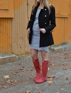 Hunter boots, striped dress, pea coat