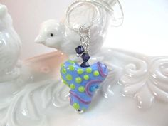Necklace heart blue, purple, green, glass lampwork bead with crystals, bead by Desert Bug Lampwork