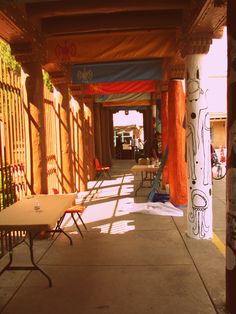 Santa Fe, New Mexico. Merchants would sell their jewelry, pottery, and other home made items.
