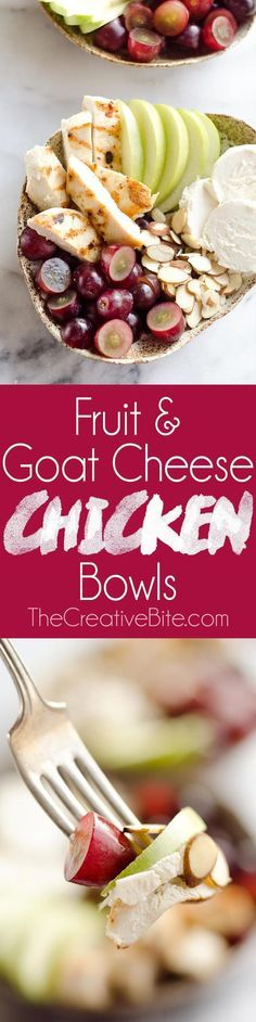 Fruit & Goat Cheese Chicken Bowls are an easy 5 ingredient recipe for a healthy dinner loaded with sweet and savory flavors. Tender chicken breasts are paired with juicy grapes apples almonds and creamy honey goat cheese for an amazingly simple and prot Healthy Snacks, Healthy Eating, Healthy Recipes, Lunch Recipes, Salad Recipes, Comida Kosher, 5 Ingredient Recipes, Easy 5, Nutrition