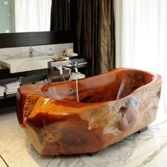 Bath tub at Mio Buenos Aires made from calden wood.  Gorgeous!
