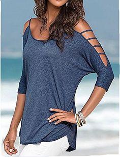 ETCYY Women's Summer 3/4 Sleeve Off Shoulder Casual Loose T-Shirt Blouse Tops * Visit the image link more details.