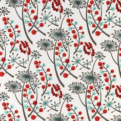 Angie Lewin - Hedgerow fabric - Bright Red/Blue (stjudesfabrics)