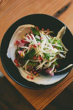 Quinoa, coconut, radish, pomegranate, and kimchi at West Bridge   via A Thought For Food