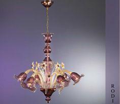 Murano Glass RODI GOLD AMETHYST Chandelier