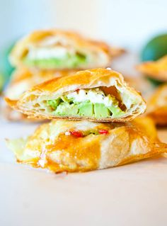 Avocado, Cream Cheese and Salsa-Stuffed Puff Pastries from Averie Cooks. Vegan option at the end of recipe.