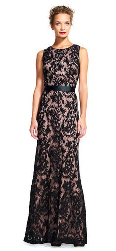 Sheer lace mermaid dress with ribbon tie waist by Adrianna Papell
