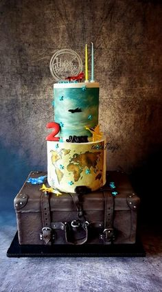 Traveler cake for Jake, 2 year old big boy - cake by tortaTanya Fruit Cake Watermelon, Suitcase Cake, Travel Cake, By Plane, Food Decoration, One Year Old, Cakes For Boys, Old Boys, Diy For Kids