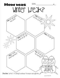 "WINTER BREAK WRITE UP - TeachersPayTeachers.comBring your student's real life experiences into your classroom and into your student's writing! This set includes a great ""who, what, when, where, why & how"" graphic organizer and a cute final draft page. Set includes lines and no lines for both pages. This is a great activity for the first day back after winter break."