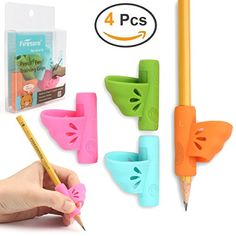 Pencil Grips 9 PCS Firesara New Design Ergonomic Butterfly Wing and Fish Style Colored Pen Training Grip Holder Hand Aid for Adult Children Kindergarten Toddler Kids Special Needs