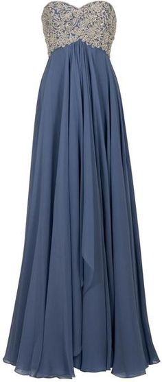 Marchesa Diamante Embroidered Gown in Blue