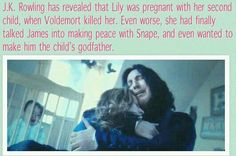 This makes Snape being a jerk even worse! Because I Voldemort had just not killed them until after Snape was the godfather, Snape would most likely be a much better person. An Harry would have a little sister or brother! Harry Potter Facts, Harry Potter Love, Harry Potter Fandom, Lily Potter, Severus Rogue, Severus Snape, Draco Malfoy, Star Treck, Saga