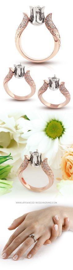 Rose and white gold engagement ring with a center diamond 44 pcs. small brilliants and handmade engraving.