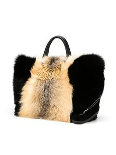Moschino fox fur tote